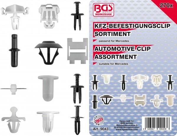 BGS 9043 KFZ-Befestigungsclip-Sortiment für Mercedes, 270-tlg.