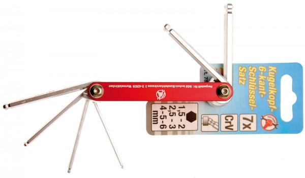 BGS 7847 Innensechskant-Klappschlüssel-Set mit Kugelkopf, 1,5 - 6 mm, 7-tlg.