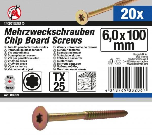 BGS 80999 Mehrzweckschrauben, 6,0x100mm, T25, 20 Stück