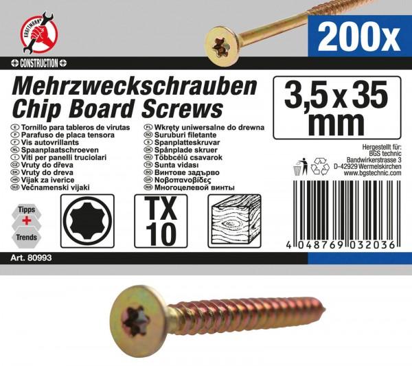 BGS 80993 Mehrzweckschrauben, 3,5x35mm, T10, 200 Stück