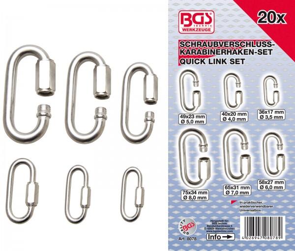 BGS 8078 Schraubverschluss-Karabinerhaken-Set, 20-tlg.
