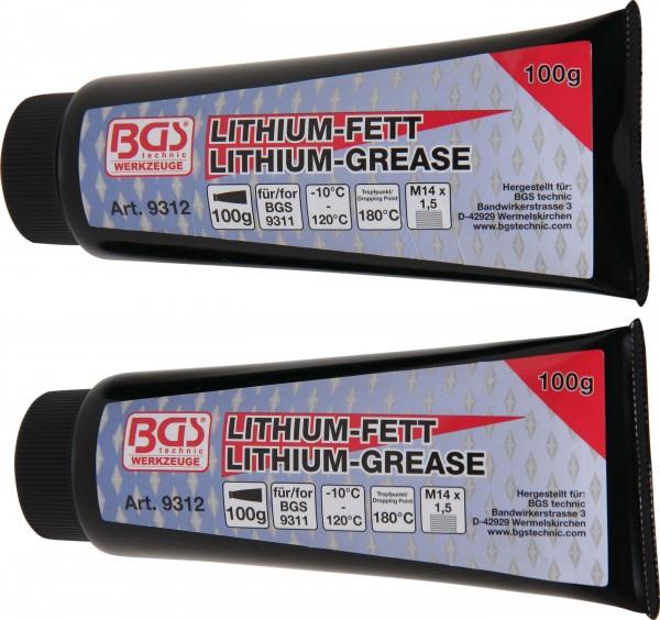 BGS 9312 Lithium-Fett für Mini-Fettpresse Art. 9311, 2 Tuben