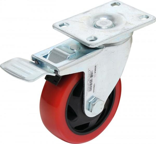 BGS 80664 Lenkrolle mit Bremse, rot/schwarz, 100 mm