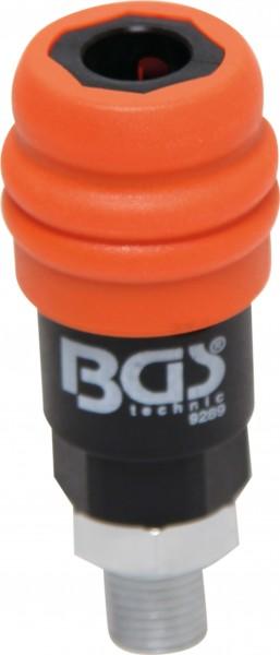 """BGS 9289 Druckluft-Sicherheits-Schnellkupplung, 2-Stufen-Löser, 1/4"""" Aussengewinde"""