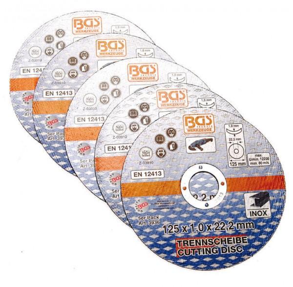 BGS 3936 Trennscheibe für Winkelschleifer 125 x 1,0 x 22,2 mm, 5er