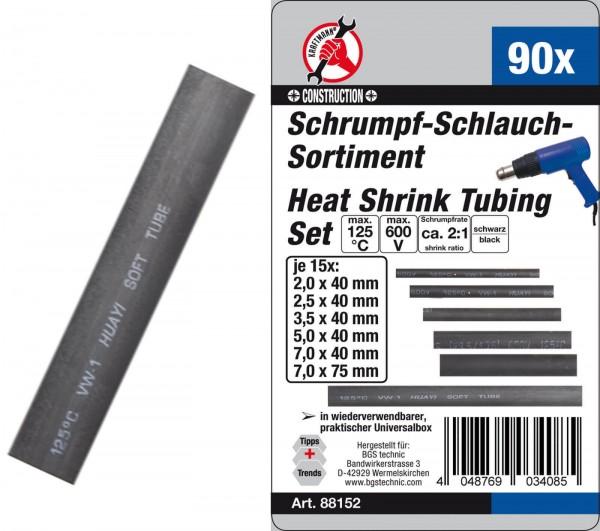 BGS 88152 Schrumpf-Schlauch-Sortiment, schwarz, 90-tlg
