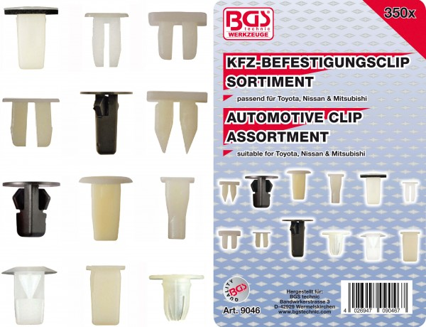 BGS 9046 KFZ-Befestigungsclip-Sortiment für Toyota, Nissan & Mitsubishi, 350-tlg.
