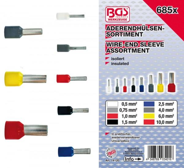 BGS 14120 Aderendhülsen-Sortiment, isoliert, 685-tlg.